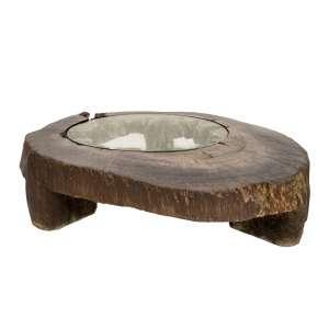 ZANINE CALDAS (Bahia/Belmonte 1919 - ES/Vitória 2011)- Mesa de centro de madeira maciça e tampo de vidro - Brasil c. 1970 - 35 x 139 x 112 cm