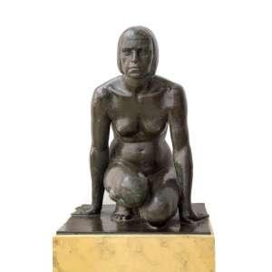 JOAO BAPTISTA FERRI (São Paulo 1896 -1978) - Curiboca - Escultura de bronze na figura de Índia - assinada Ferri - Obra apresentada no Salão Nacional de Belas Artes - Rio de Janeiro - 1939 - Brasil c. 1939 - 81h x 58 x 55cm