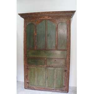 Importante armário de madeira , parte superior com oratório , finamente policromado. Minas Gerais Brasil Séc. XVIII - 2.30 x 1.60 x 0,50 MT.