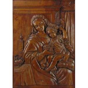 E.DANELON - Placa de madeira entalhada representando Nossa Senhora e menino Jesus - 86 x 66 cm. Europa Séc XIX.