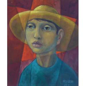 Harry Elsas - Figura masculina - Óleo sobre tela colada em placa / CID - 48 x 40 cm.