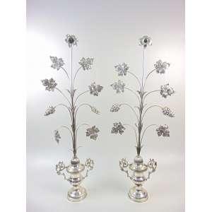 Par de palmas em metal expessurado a prata - 84 cm de alt.