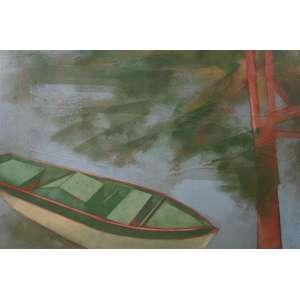 CARLOS SCLIAR - Barco e amendoeira - Vinil e colagem encerado sobre tela - Assinado verso - dat 83 - 55 x 75 cm.