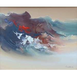 FUKUSHIMA TIKASHI - Abstrato , óleo sobre tela / CID - No verso: Devaneio de um poeta e Dat. 1978 - 100 x 120 cm