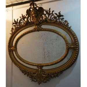 Grande epelho de madeira entalhada finamente dourado .Europa Séc XIX - 130 x 126 cm com moldura - só espelho 75 x 108 cm.