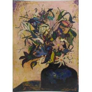 NIOBE XANDO -Vaso de flores , Dat 56 ,óleo sobre placa de madeira / CID .Reproduzido no Livro da Artista - 49 x 35 cm.