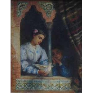 Edwin Long - ( 1829- 1891) -ATRIBUÍDO-- Figura feminina - OST/CIE - 92 x 70 cm. Long nasceu em Bath , Somerset , filho de James Long, um cabeleireiro (de Kelston em Somerset ) e foi educado na Escola do Dr. Viner em Bath. Adotando a profissão de pintor, Long chegou a Londres e estudou no Museu Britânico . Ele foi posteriormente um aluno na escola de James Mathews Leigh em Newman Street, Londres, e praticou primeiro como artista de retrato pintando Charles Greville , Lord Ebury e outros. Long fez o conhecimento de John Phillip RA, e o acompanhou para a Espanha , onde passaram muito tempo. Long foi muito influenciado pelas pinturas de Velásquez e outros mestres espanhóis, e suas fotos anteriores, como La Posada (1864) e Lazarilla e o mendigo cego (1870), foram pintadas sob influência espanhola. Suas primeiras fotos importantes foram The Suppliants (1872) e The Babylonian marriage market (ambos comprados posteriormente por Thomas Holloway). Em 1874, ele visitou o Egito e a Síria, e subseqüentemente seu trabalho tomou uma nova direção. Ele ficou completamente imbuído de arqueologia do Oriente Médio e pintou cenas orientais, incluindo a Festa egípcia (1877), os deuses e seus criadores (1878