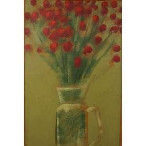 CARLOS SCLIAR - Vaso de flores - Vinil e colagem encerado sobre tela - Assinado centro - dat 84 - 56 x 37 cm