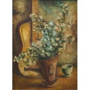 CLOVIS GRACIANO - Vaso de flores e violão - Catalogado no projeto Clovis Graciano - déc 40 - OST/CIE - 65 x 47 cm.