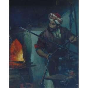 Leopold H. Mielich - (Atribuído) Armeiro Mouro - OST / CIE - 114 x 93 cm.Bela obra de grande qualidade pictórica guarnecida por moldura trabalhada com tema orientalista.