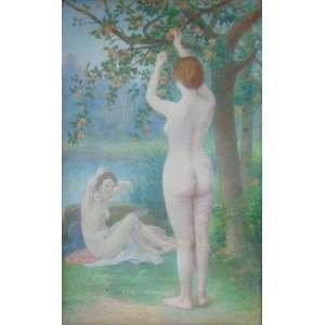 Jules Scalberz -(Atribuído) Banhistas - Pastel / CIE - (1851 - 1923) - 62 x 38 cm. Ele era um aluno de Isidore Pils e Henri Lehmann . Ele retratava cenas históricas e de gênero, assuntos alegóricos, figuras, flores e trabalhava em técnica pastel. O artista começou a exibir no Salão de Paris em 1876, depois mostrou suas obras no Salon des Artistes Francais, do qual ele se tornou um membro em 1883. Scalbert obteve um prêmio honorário em 1889 e medalhas em 1891 e 1901.