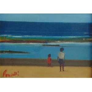 PANCETTI JOSÉ - Meninas na Praia - óleo sobre tela ,C/I/E , Itapuã Bahia no verso Dat 54 e dedicatória Para Benny e seu esposo uma lembrança amiga de J.Pancetti - 16 x 22 cm.