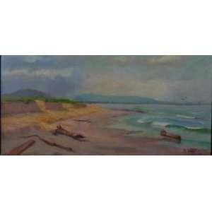 BENEDITO CALIXTO - Praia Grande , óleo sobre tela / CID - 25 x 55 cm , datado 1923 - Acompanha certificado .