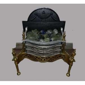 Lareira elétrica, executada em metal e bronze, altura 68cm, largura 62cm e 33cm de comprimento.