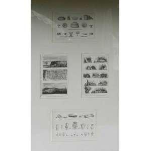 Debret,quatro gravuras em uma só moldura, 26 cm X 35cm cada.