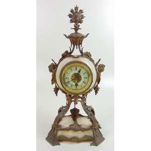 Relógio de mesa LENZKIRCH, em alabastro e bronze - 41 x 20 x 14 cm. ( no estado )