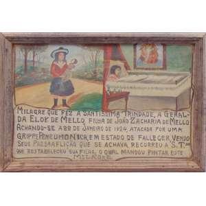 Ex-Voto - Óleo sobre madeira - Agradecimento a Santíssima Trindade pela recuperação de criança com pneumonia - Brasil 1924 - 27 x 40 cm.