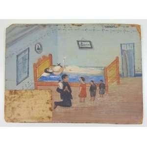Ex Voto - Óleo sobre cartão, Graça não identificada, a descrição apagou-se com o tempo. 27 x 37 cm.
