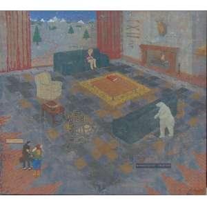 Rafael Ortiz - El Huesped no se sabe a que viene ni lo que quiere De la serie: Los Interiores - Óleo sobre tela, assinado no verso - Bogotá 1993 - 155 x 168 cm.