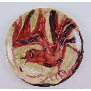 Iberê Camargo - Prato em porcelana, pintado á mão, assinado e datado 1964, com 18 cm de diâmetro, quebrado e colado em 3 partes.