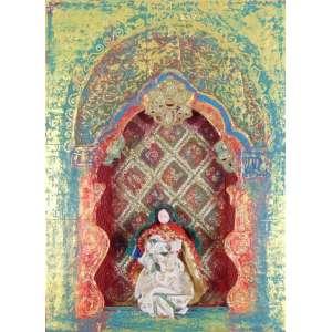 Rosane Dias - S/T - Técnica mista sobre madeira ( com relevo), assinada no verso e datada 1999 - 20 x 15 x 5 cm.