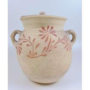 Pote em cerâmica artesanal, com decoração floral - 35 cm de alt e 30 de diâm.