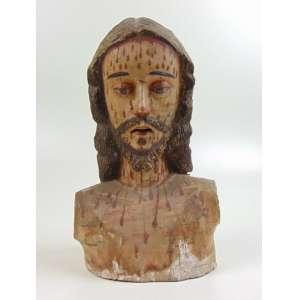 Busto de Cristo - Madeira entalhada e policromada - 29 x 19 x 14 cm. Século XIX - No estado, apresenta danos causados por cupins.