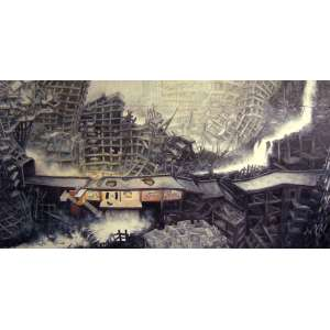 Oscar Oiwa - Falling Water House - Quadríptico - acrílica sobre tela, assinado e datado 2006 no verso, localizado New York - 225 x 444 cm. Obra reproduzida no livro Oscar Oiwa - Painting in the Age of Globalization à pg 79. Acompanha o livro.