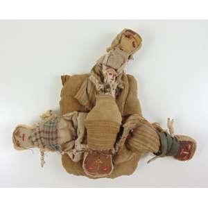 Bonecas rústicas em tecido e terra - 29 x 35 cm ( No estado ) - América Latina.
