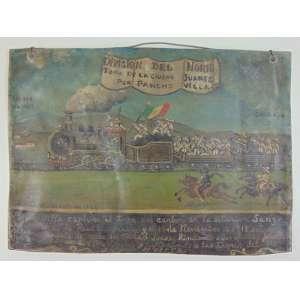 Ex-Voto - Óleo sobre placa de metal - Homenagem a Pancho Villa pela tomada da cidade de Juarez em 1913. Assinado por Pedro Rivera em 1925 - México 17 x 24 cm.