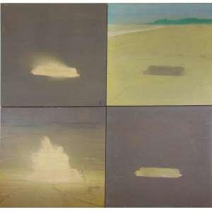 Luiz Alphonsus -Negativo, Positivo ou Homenagem a IemanjáQuadríptico - Óleo sobre tela sobre eucatex - assinados e datados 1970 - 40 x 40 cm cada 80 x 80 cm total.