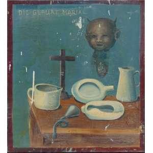 MJO - Die Geburt Mariae - Óleo sobre tela, assinado no verso - 94 x 82 cm (no estado)