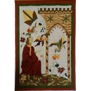 Tapeçaria com arco,figura humana, pássaros e vegetação, medindo 204 X 140cm.