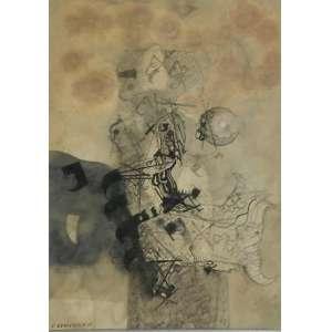F.ODRIOZOLA - Abstrato, nanquim aquarelado 50 X 36cm. Assinado no canto inferior esquerdo, datado de 1960