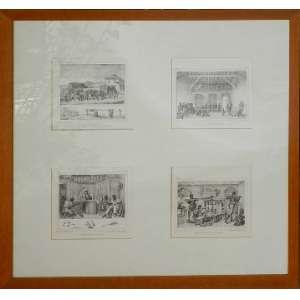 Debret, 4 gravuras branco e preto com moldura dourada, 26 X 29cm cada.
