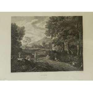 Gravura européia, paisagem, 43 X 51cm.