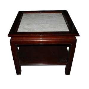 Mesa lateral com tampo de mármore,estilo chines, altura 60cm, largura70cm e 70cm de comprimento.