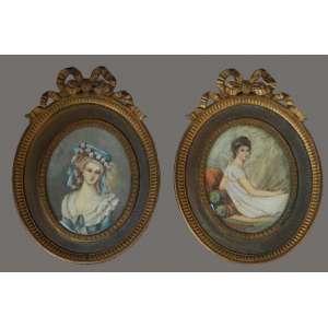 Par de pinturas em marfim, representando damas com molduras de bronze, 9 X 7cm.