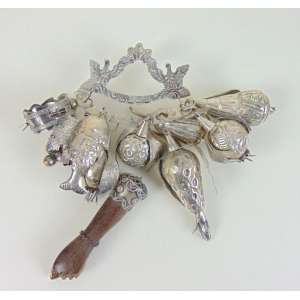 Bela penca de prata de lei rica em balagandans .Brasil Séc XX
