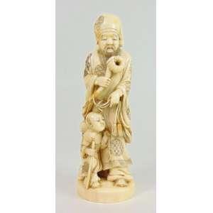 Escultura de marfim representando ancião e criança . Japão Sec. XIX - 20 cm de alt. Coleção Mielenhausen
