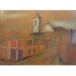 VOLPI ALFREDO - Sem Título - Casa de Banana -técnica Mista sobre cartão / Cid - Dec.40 - 46 x 62,5 cm . Participou de exposição na Pinacoteca do Estado .