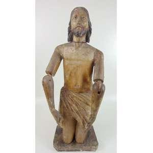 Bela imagem de Roca de madeira lavrada e policromada representando Cristo ajoelhado - 85 cm de alt. Brasil Séc XVIII