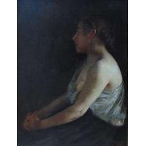 AMOEDO Rodolfo - Figura feminina - OST/CID - Datado de 1899 - 84 x 63 cm. Excepcional pintura
