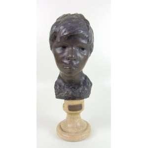 GEMITO VINCENZO- Cabeça de bronze com base de mármore - 33 cm de alt.
