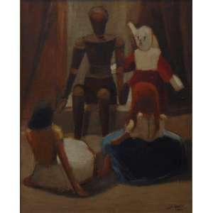A. Ianelli - Sem Título - (O Contador de historias) - Óleo sobre tela / Cid - 1954 - 73 x 60 cm