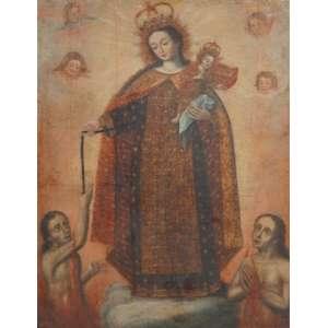 ESCOLA CUSQUENHA - Nossa Senhora Auxiliadora - OST - 110 x 87 cm.