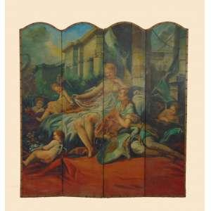 Biombo em madeira com delicado trabalho de pintura a maneira de BOUCHER - 170 cm de alt e 160 de comp.