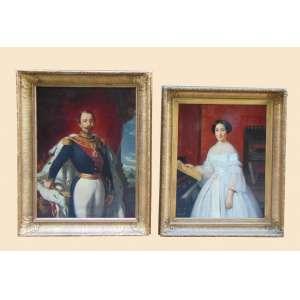 Lote com 2 belos quadros sendo um representando Napoleão III Imperador dos Franceses 2 de dezembro de 1852 a 4 de setembro de 1870 1ºPresidente da França Mandato 20 de dezembro de 1848 a 2 de dezembro de 1852 e sua esposa Eugénia de Montijo, nascida Maria Eugênia Ignácia Augustina de Palafox-Portocarrero de Guzmán y Kirkpatrick (Granada, 5 de maio de 1826 - Madrid, 11 de julho de 1920), foi marquesa de Ardales, marquesa de Moya, a 19ª Condessa de Teba, condessa de Montijo e, como esposa de Napoleão III de França, foi imperatriz dos Franceses. Ambos executados a óleo sobre tela guarnecidos por belas molduras apenas um assinado e com pequena diferença de tamanho .Europa Séc XIX
