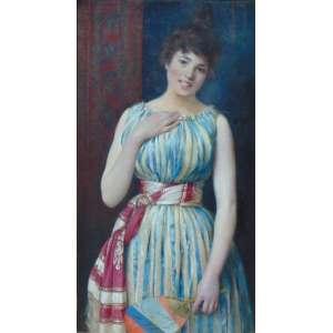 Pintura de grande qualidade técnica ornamentada por belíssima moldura assinatura não identificada - Figura feminina - OST /CSE - 100 x 54 cm. Itália Séc XIX