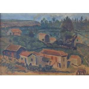 A. Bonadei - Sem Título Paisagem Rural - Óleo sobre placa de papelão Cie – S/data - 23 x 33 cm